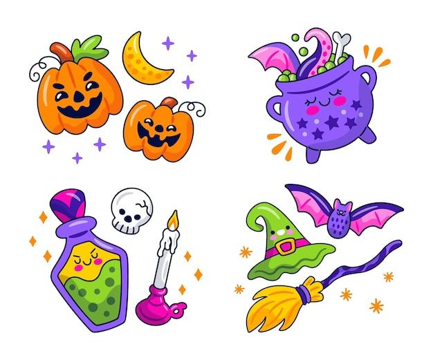 Collection D'autocollants D'halloween Kawaii Vecteur Premium