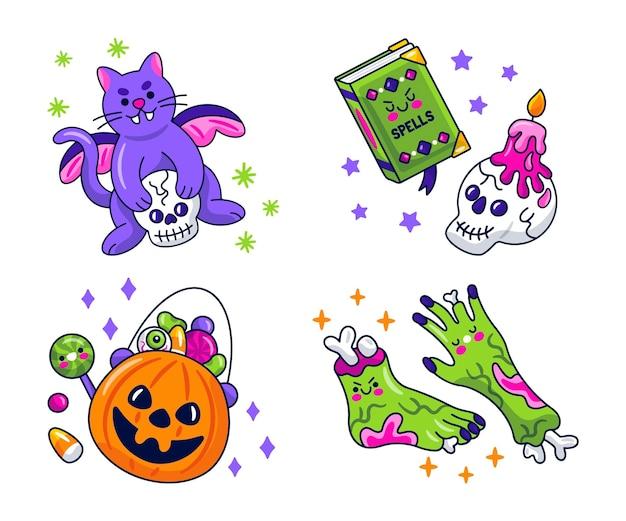 Collection d'autocollants d'halloween kawaii
