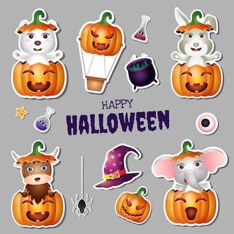 Collection d'autocollants halloween avec un mignon ours polaire, un lapin, un buffle et un éléphant