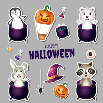 Collection d'autocollants halloween avec mignon pingouin, ours polaire, lapin et raton laveur