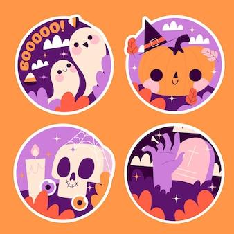 Collection D'autocollants Halloween Naïfs Vecteur gratuit