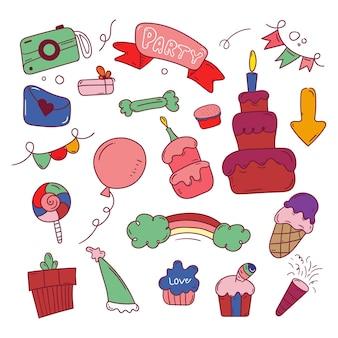 Collection d'autocollants joyeux anniversaire doodle
