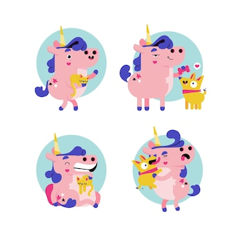 Collection d'autocollants de licorne de dessin animé rétro