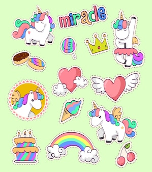 Collection d'autocollants licorne mignonne