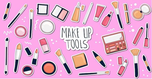 Collection d'autocollants de maquillage dessinés à la main colorés
