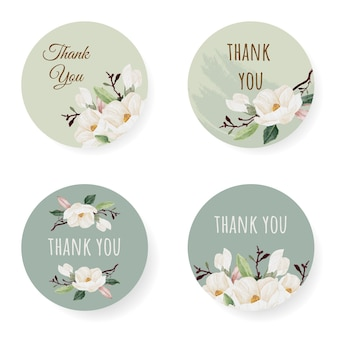 Collection d'autocollants merci magnolia blanc aquarelle