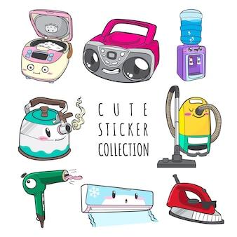 Collection d'autocollants mignon appareil ménager