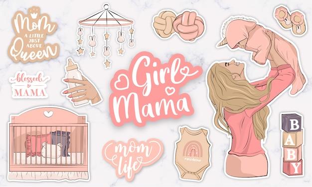 Collection d'autocollants mignons avec des objets bébé fille et une mère tenant un bébé