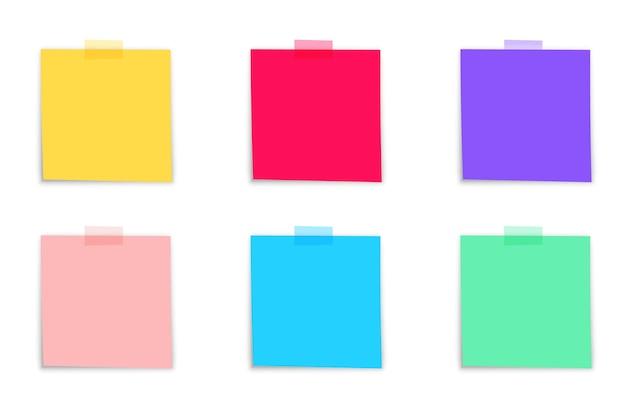 Collection d'autocollants multicolores. papier à notes collantes. collection de différentes feuilles de papiers de couleur. vue de face. prêt pour votre message. illustration vectorielle réaliste