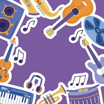 Collection d'autocollants de musique et d'instruments