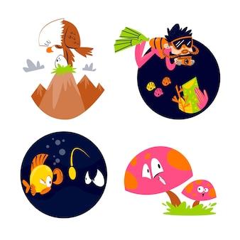 Collection d'autocollants nature dessin animé rétro