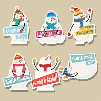 Collection d'autocollants de noël avec bonhomme de neige