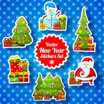 Collection d'autocollants de nouvel an