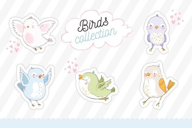 Collection d'autocollants d'oiseaux mignons dessinés à la main