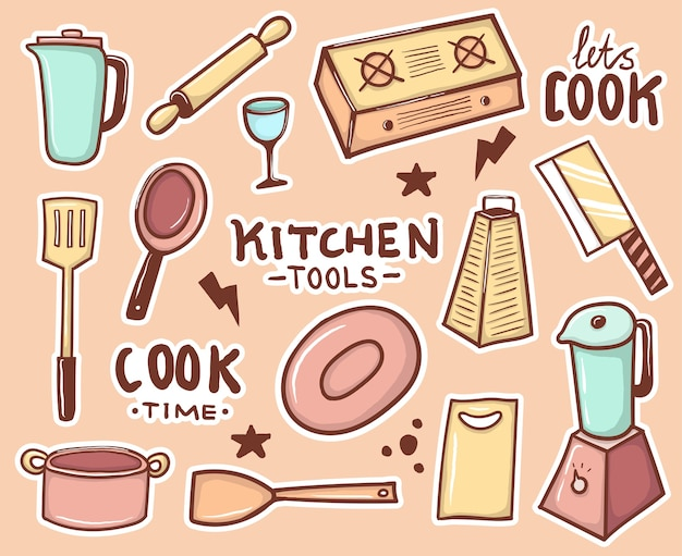 Collection d'autocollants d'outils de cuisine dessinés à la main colorés