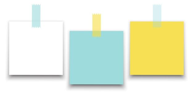 Collection d'autocollants en papier carré de couleur différente.