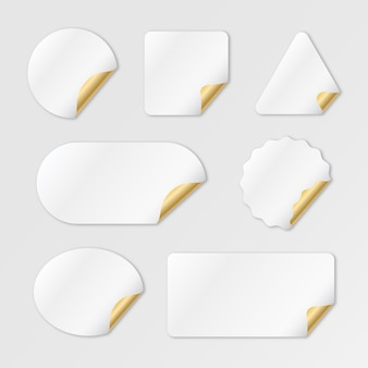 Collection d'autocollants en papier vide réaliste