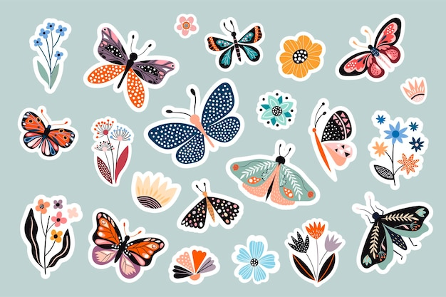 Collection d'autocollants papillons et fleurs