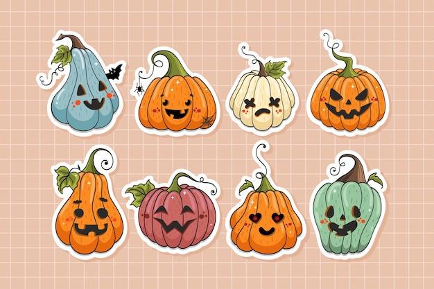 Collection d'autocollants de personnages de dessins animés de citrouilles d'halloween mignons dans un style dessiné à la main