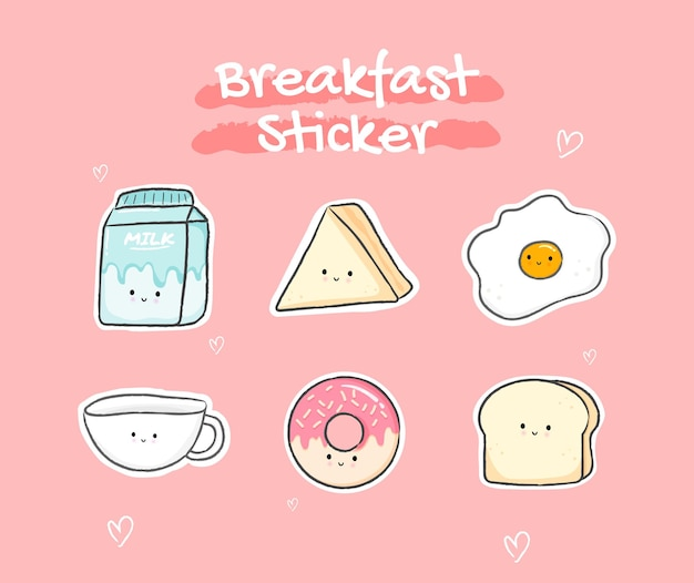 Collection d'autocollants de petit déjeuner mignon en couleur pastel vecteur premium