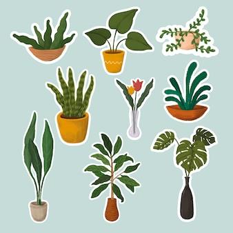Collection d'autocollants de plantes d'intérieur
