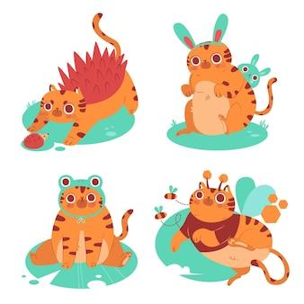 Collection d'autocollants pour animaux de compagnie chat dessinés à la main