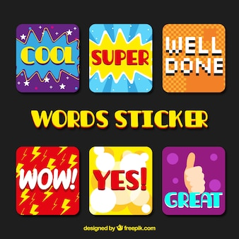 Collection d'autocollants pour mots cool