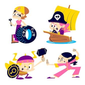 collection d'autocollants de puissance de fille de dessin animé rétro