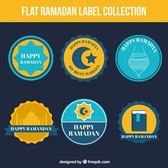 Collection d'autocollants ramadan en conception plate