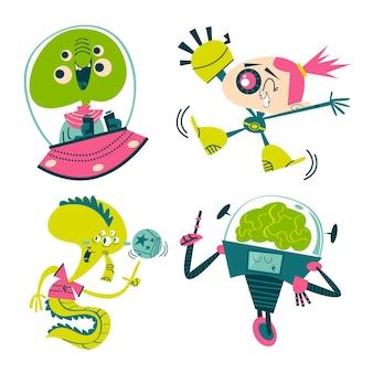 Collection d'autocollants de science-fiction de dessin animé rétro