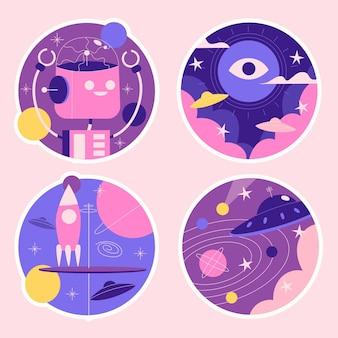 Collection d'autocollants de science-fiction naïf