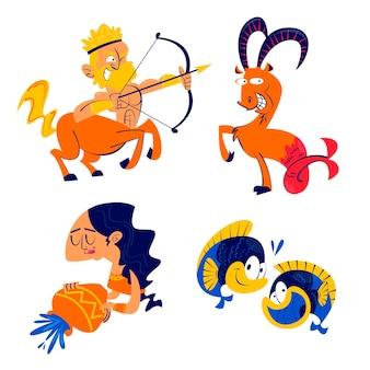Collection d'autocollants de signes astrologiques de dessin animé rétro