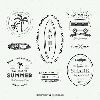 Collection d'autocollants de surf vintage