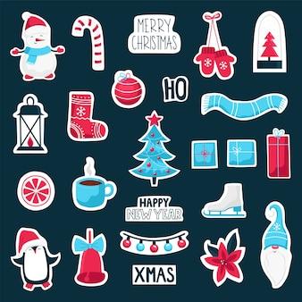 Collection d'autocollants de symboles mignons de noël et du nouvel an.
