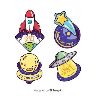 Collection d'autocollants thème de l'espace