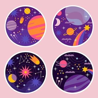 Collection d'autocollants univers naïf