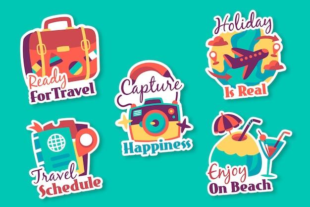 Collection d'autocollants de vacances dans la collection des années 70
