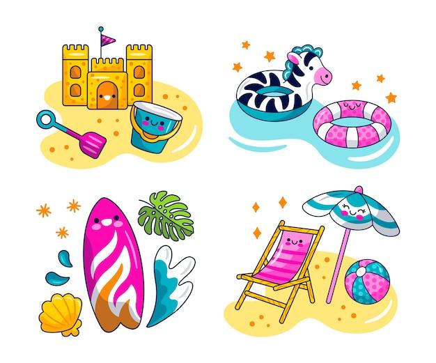 Collection d'autocollants de vacances kawaii