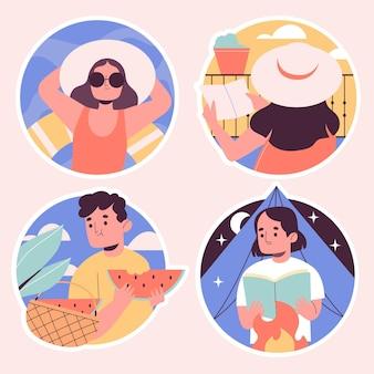 Collection d'autocollants de vacances naïves
