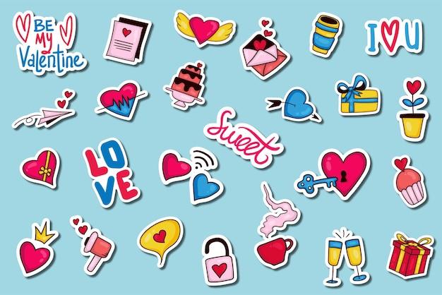Collection d'autocollants valentine dessinés à la main