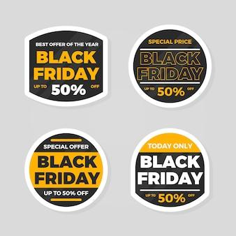 Collection d'autocollants vendredi noir plat