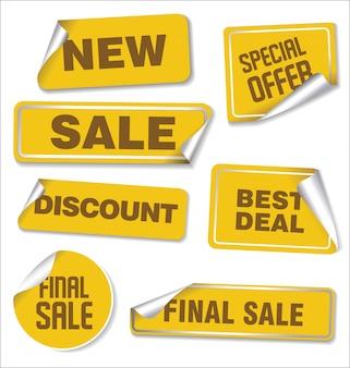 Collection d'autocollants de vente aux coins arrondis