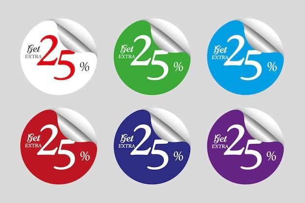 Collection d'autocollants de vente colorés avec vingt-cinq 25 pour cent de réduction