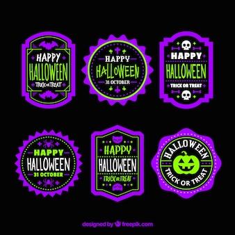 Collection d'autocollants violets et verts de halloween