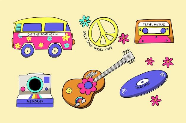 Collection d'autocollants de voyage dans le style des années 70