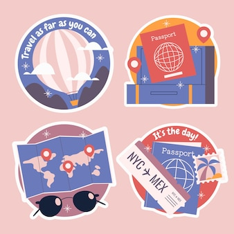 Collection d'autocollants de voyage naïfs
