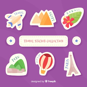 Collection d'autocollants de voyage plats