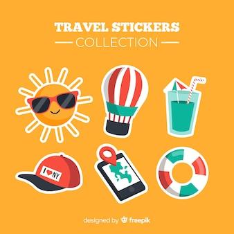 Collection d'autocollants de voyage plats