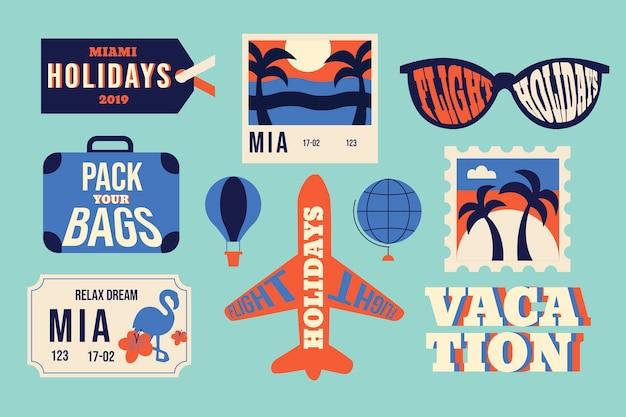 Collection d'autocollants de voyage style années 70