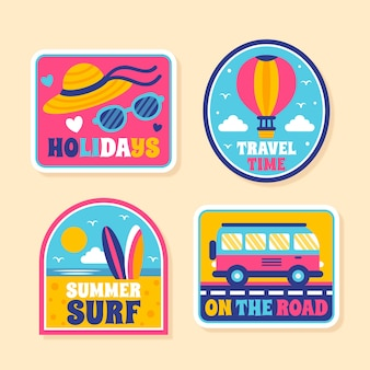 Collection d'autocollants de voyage / vacances dans le style des années 70